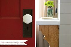 I like the idea of this vintage ceramic door knob set rather than glass door knobs, which tend to be much pricier....Home Office/Guest Bedroom via The Lettered Cottage |