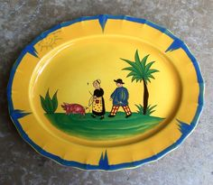 "VTG Haldon Group Soleil 15"" SERVING PLATTER Yellow Blue Green MCMLXXX Retired #TheHaldonGroup"