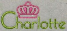 """Charlotte North Carolina Crown Embroidery Design. Once called Charlottetowne, was named in honor of the British queen, """"Charlotte Sophia."""""""