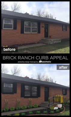 Brick Ranch Curb Appeal Mockup by AD Aesthetic Ranch Exterior, House Paint Exterior, Exterior Remodel, Wall Exterior, Fixer Upper, Tudor, Red Brick Exteriors, Brick Ranch Houses, Ranch Remodel