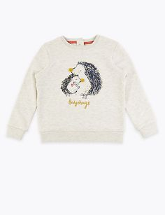 Marks and Spencer Hedgehog Print Sweatshirt Months - 7 Years) Smart Casual Shirts, Stylish Suit, Seventies Fashion, Line Shopping, Printed Sweatshirts, Bedding Shop, Work Wear, Kids Outfits