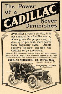 1905 Ad Cadillac Automobiles Light Touring Car Model - ORIGINAL ADVERTISING WW3