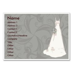 Wedding Dresses business cards. I love this design! It is available for customization or ready to buy as is. All you need is to add your business info to this template then place the order. It will ship within 24 hours. Just click the image to make your own!