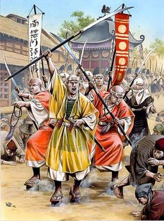 Samurai monks rampage through a town.