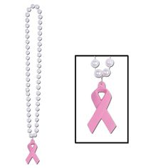 Beads with Pink Ribbon Medallion (12ct)