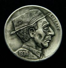 Hobo Nickel Horse Track Harry. Hand carved by Robert Morrs OHNS