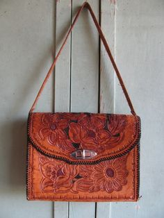 Vintage hand tooled leather purse Floral Roses by TheIDconnection,  125.00 Tooled  Leather Purse, Leather ec98702c8f