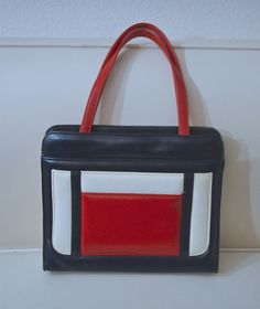 i think i need to have this.  60s Mod Handbag / Mid Century Modern Mondrian Handbag /  1960s Red White & Blue Colorblock Purse