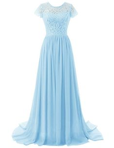 Shop Dresstells® Women's Long Chiffon Prom Dress With Lace Bridesmaid Dress. Pale Blue Bridesmaid Dresses, Blush Pink Dresses, Wedding Flower Girl Dresses, Lace Party Dresses, Lilac Dress, Lace Bridesmaid Dresses, Prom Dresses, Bridesmaid Ideas, Beautiful Dresses