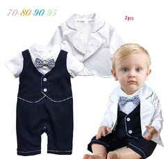 Free Shipping 4sets/lot Baby Boy's Formal Romper with Vest in One and Coat Set