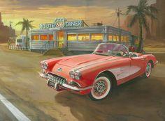 Corvette-red-66-Diner-painting.jpg 800×593 píxeles