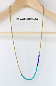 "Color Blocked Seed Bead Necklace, (aliceandlois.com) Supplies: small silver or gold seed beads, two colors medium seed beads; your choice, (Turquoise & royal blue used here.) no-stretch beading thread, collaspible eye beading needles & cratfs glue. Cut thread 33"" long & knot one end leaving 1.5"" . Thread needle & string small beads. Add medium beads to ""color block"" then tie together with tight double knot. Glue securing knot. Make more & wear together. (craftgawker.com.) :)"