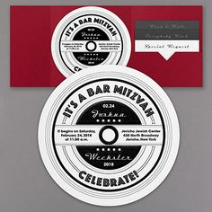 Set a record for retro style! A round shimmer card with a vintage record design is a rockin' Bar Mitzvah invitation. Choose the design and printed pocket color for a custom look. Bar Mitzvah Invitations, Graphic Design Print, Vintage Records, Elegant Invitations, Bat Mitzvah, Lettering, Pocket, Cards, Prints