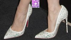 Jessica Chastain in Hideous Alexander McQueen Dress and Christian Louboutin Strass Pumps