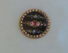 Victorian Enamel Button - Handpainted Roses - Cut Steel Edge..sweeeet!!!