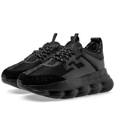 Versace Chain Reaction Leather, Nylon And Suede Sneakers In Black Versace Sneakers, Versace Shoes, Versace Men, Sneakers Fashion, Black Leather Sneakers, All Black Sneakers, Best Sneakers, Shoes Sneakers, Futuristic Shoes