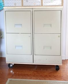 File-cabinet-makeover-tutorial for the tall four drawer sitting in my garage.  Got just the place for it in the house once it's on wheels and painted.