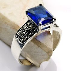 'Deepest Blue' Sterling Silver Dark Blue CZ, Marcasite Ring Size 8