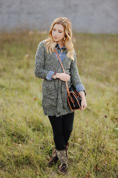 Grey sweater, denim shirt, black jeans, brown boots from Sidewalk Ready Blog