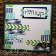 Stampin Up Father's Day - masculine card using Tape It & Delightful Dozen stamps. By Di Barnes #stampin up #stampinupau #colourmehappy