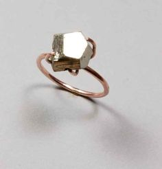 14K Pink Gold and Pyrite Ring, $225