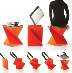 The Kada Stool designed by Yves B��har. A folding Kada that you can use as a stool and side table, I love this design!