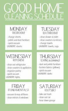 """Good Home Cleaning Schedule. """"Keep your stress levels to a minimum by spreading out your workload over the week. But, don't forget to give yourself a day of rest!"""" A nice simplified version of cleaning schedule Household Cleaning Schedule, House Cleaning Checklist, Diy Cleaning Products, Cleaning Solutions, Cleaning Hacks, Cleaning Lists, Deep Cleaning, Cleaning Calendar, Cleaning Routines"""