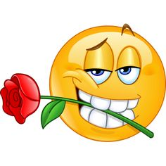 emoticon giving a heartfelt greeting with this bold smiley and its lovely rose. Smiley Emoji, Funny Emoticons, Funny Emoji, Clipart, Images Emoji, Naughty Emoji, Emoticon Faces, Emoji Love, Emoji Symbols