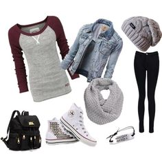 outfit for school √ Maroon Raglan Top √ Jeans Jacket Outerwear √ Black Skinny Jeans √ White Converse High Top Shoes √ Gray Beanie & Scarf √ Black Bag