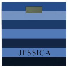 #monogrammed - #Blue Pattern Monochrome Striped Name Personalized Bathroom Scale