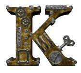steampunk letra k en el fondo blanco - 3d ilustración