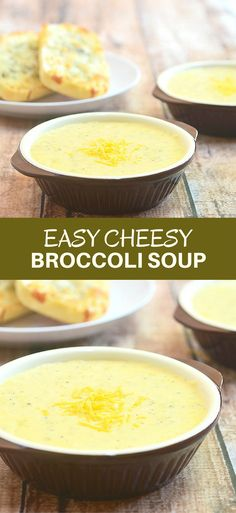 Easy Cheesy Broccoli Soup is rich, creamy, and loaded with tender broccoli bits and cheesy goodness. It takes simple pantry ingredients and less than 30 minutes to make for a hearty warm-you-up comfort food!