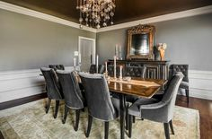 Extensive use of gray in the transitional dining room