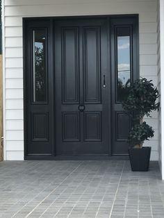 Black Exterior Doors, Black Front Doors, Double Front Doors, Painted Front Doors, Exterior House Colors, Exterior Design, Front Door Makeover, Front Porch Design, House Front Door