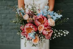 Coral Peony Peonies Bouquet Flowers Bride Bridal Bright Colourful DIY Back Garden Wedding http://jonnymp.com/