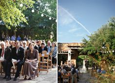 Courtyard sunset ceremony | Lady Bird Johnson Wildflower Center Wedding | nessa k photography