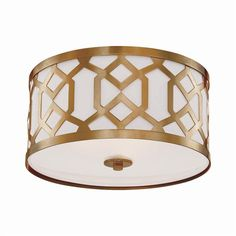 """This lovely ceiling mount pendant is made with steel and features an aged brass finish. The pendant measures 16.25"""" in diameter X 8.75""""H and the shade measures 16"""" in diameter X 7""""H. The pendant takes"""