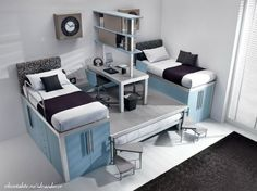 Lots of storage and function in a small space. Note the hidden bed idea in the center