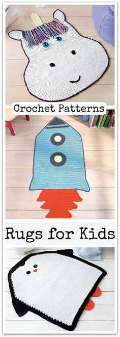 The novelty crochet designs in Rugs for Kids from Leisure Arts can help children step into imaginary worlds where creativity is key. Great for play areas and bedrooms. #ad #affiliate #crochet #pattern