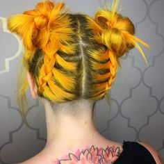 Mustard yellow hair color Pulp Riot Lemon mixed with Lava hair dyes.