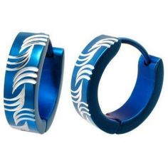 Blue Diamond Cut Hoop Stainless Steel Earrings - Timeless Treasures - Free gift bag with purchase