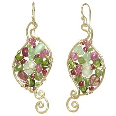 Pink ruby, vessonite, idocrase, and prehnite wrapped inside hammered swirled shapes, about 1-3/4. Available in 14k gold filled & sterling silver 14k rose gold filled **We now offer LAYAWAY**Please read our policy section for more info -