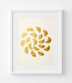 Ginkgo Leaves – Gold Original Painting – Acrylic Painting – Birthday Gift – Gold or Silver – Wall Art – Ginkgo Art – 32x42cm – No: 1
