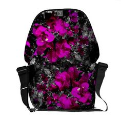 Bright pink bougainvilleas on monochrome courier bags.