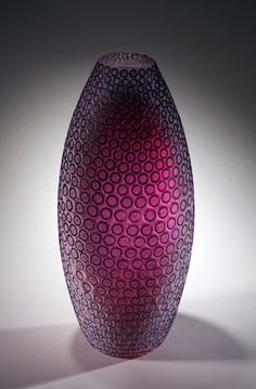 """GALAXEA CORAL II""  Kevin Gordon   Etched Glass  12 1/4"" x 5 1/8"" x 5 1/8"""