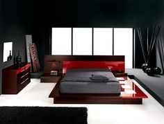 Réalisation design de chambre contemporaine black, brown & red pinned with Pinvolve