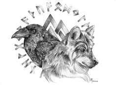 The design I created for my very first tattoo. It's a sigil, a symbol, meant to represent myself in the purest sense. In the center, there are two wolves, the destroying vargr of Ragnarok: Fenrisul...