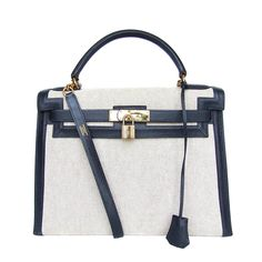 Authentic Hermes Kelly 32 Bag Sellier Bi Matiere Canvas Leather Gold Hdw fac131db6a407