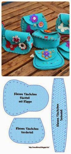 Molde fácil de bolsinha em feltro que podemos usar para fazer mini bolsinhas para nossas Tildinhas! Podemos fazer em várias cores,com alças...