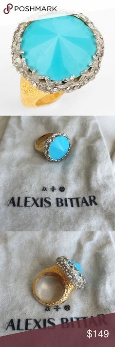 Alexis Bittar 'Elements' Pavé Accent Crown Ring Excellent condition. No Swarovski crystals missing. Purchased from Nordstrom. Gorgeous sparkly statement piece! Alexis Bittar 'Elements' Pavé Accent Crown Ring Gold/ Turquoise Size 7 Alexis Bittar Jewelry Rings